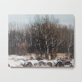 The Tractor and the Snow Metal Print