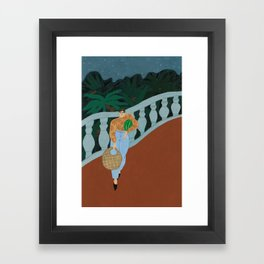 The Way Back Home on a Starry Night Framed Art Print