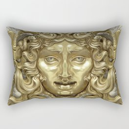 """Ancient Golden and Silver Medusa Myth"" Rectangular Pillow"