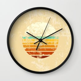 Vintage Worn Pattern Retro Sun Vaporwave Aesthetic Wall Clock