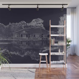 Lake House Etching Wall Mural