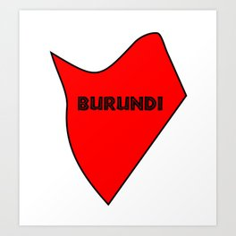 Burundi Silhouette Map Art Print