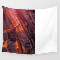 Orange Rabbit Wall Tapestry