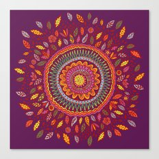 Leafy Fall Mandala Canvas Print