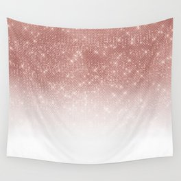 Girly Faux Rose Gold Sequin Glitter White Ombre Wall Tapestry