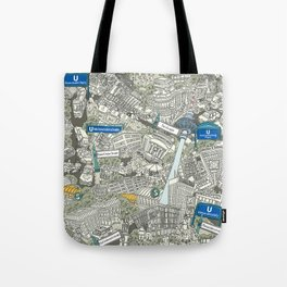 Illustrated map of Berlin-Mitte. Green Tote Bag