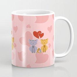 Enamored cats on pink background Coffee Mug