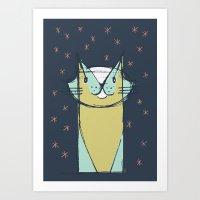 Cubist Cat Study #11 by Friztin Art Print