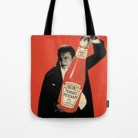 vegetarian Tote Bags featuring Vegetarian Vampire by Karolis Butenas