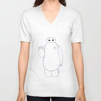 baymax V-neck T-shirts featuring baymax by Art_By_Sarah