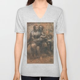 Leonardo da Vinci - Virgin and Child with Ss Anne and John the Baptist Unisex V-Neck