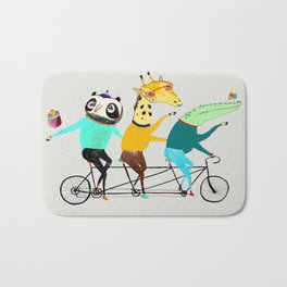 Animals biking. bike art, bike decor, bikes. Bath Mat