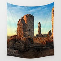 runner Wall Tapestries featuring The ruins of Waxenberg castle | architectural photography by Patrick Jobst