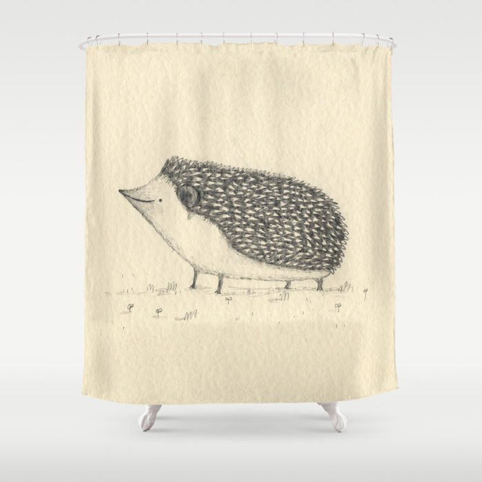 Monochrome Hedgehog Shower Curtain