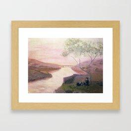 Tuscan River Landscape Framed Art Print