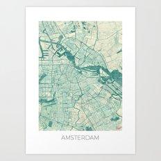 Amsterdam Map Blue Vintage Art Print