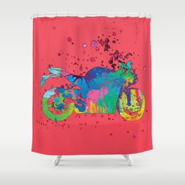 ap127-9 Motorcycle Shower Curtain