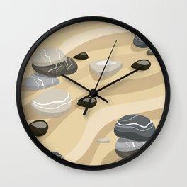 Zen Garden Sand Stones and Rake Wall Clock