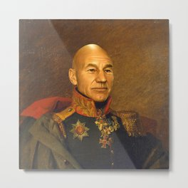 Sir Patrick Stewart - replaceface Metal Print