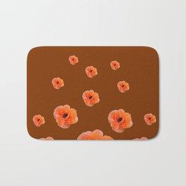 ORANGE POPPY FLOWERS ON COFFEE BROWN Bath Mat