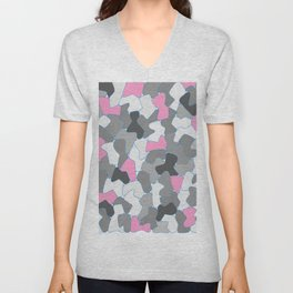 Stone Wall Drawing #2 Pink Unisex V-Neck