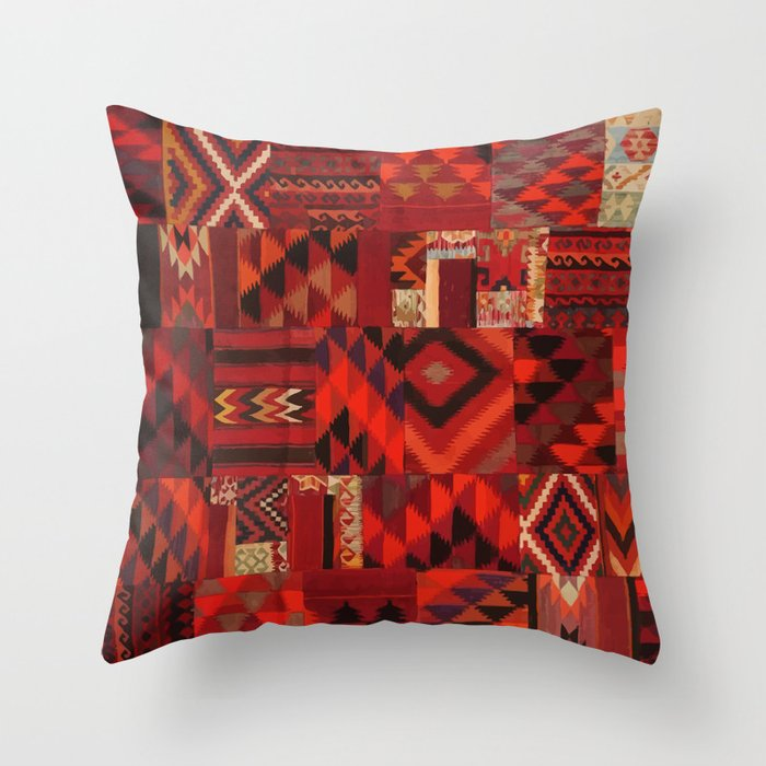N109 - Oriental Bohemian Traditional Moroccan Collage Artwork Throw Pillow