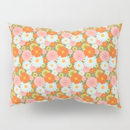 Happy Flowers in olive Pillow Sham
