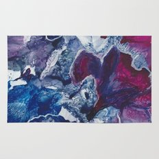 Blue and Red Abstract encaustic flowers Rug
