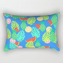 Watermelons and pineapples in blue Rectangular Pillow
