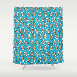 Skeleton Gingerbread Man Pattern Shower Curtain