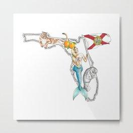 Florida Mermaid Metal Print
