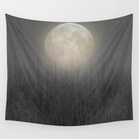 birch Wall Tapestries featuring The Moon Shines Bright (Birch Moon II) by soaring anchor designs