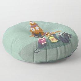 Meowy christmas sugar skulls Floor Pillow
