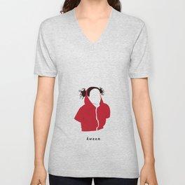 Ilana Wexler wearing a dog hoodie Unisex V-Neck