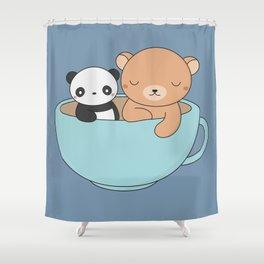 Kawaii Cute Brown Bear and Panda Shower Curtain
