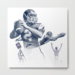 Quarterback throwing a touchdown pass. Metal Print