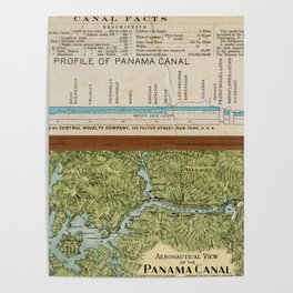 Vintage Map of The Panama Canal (1911) Poster