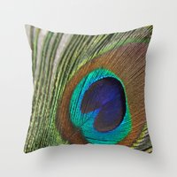 peacock feather Throw Pillows featuring Peacock Feather by aquenne