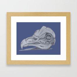 Barn Owl Skull Muted French Blue Framed Art Print