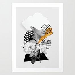 collage art (girl) Art Print