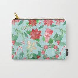 Merry Christmas Pattern (Blue Background) Carry-All Pouch