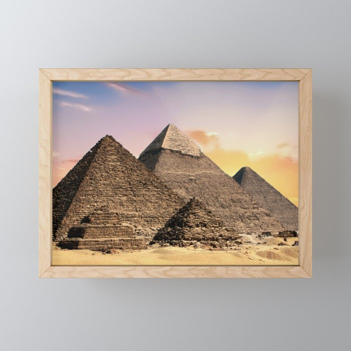 Pyramids in Egypt Framed Mini Art Print