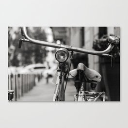 Old white bicycle in a little alley in the center of Milan Canvas Print