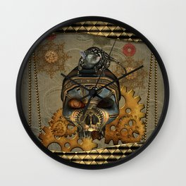 Steampunk, awesome steampunk skull with steampunk rat Wall Clock