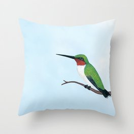 the studious male (ruby-throated hummingbird) Throw Pillow