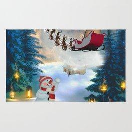 Christmas, snowman with Santa Claus Rug