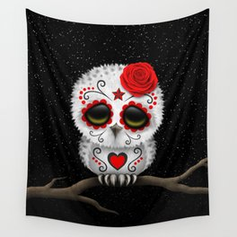 Adorable Red Day of the Dead Sugar Skull Owl Wall Tapestry