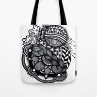 zentangle Tote Bags featuring zentangle by goyye