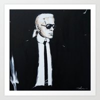 karl lagerfeld Art Prints featuring Karl Lagerfeld back in black by Alexis Olin