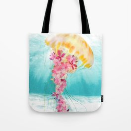 Jellyfish with Flowers Tote Bag